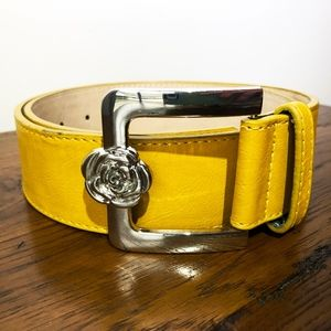 Betsey Johnson Gold Belt with Flower Buckle
